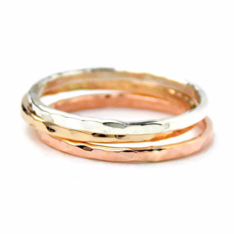 3 Reflection Hammered Stacking Rings - 14K Gold-filled ring and Sterling Silver - Rito Originals - 1
