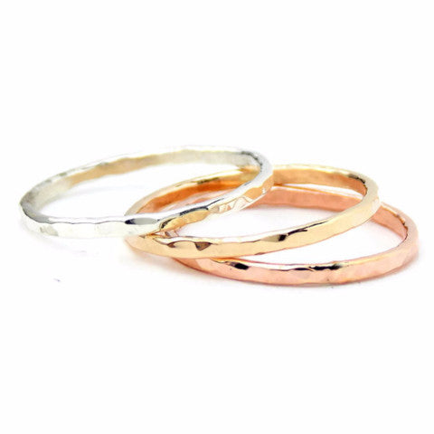 b36bd2e3cef80 3 Reflection Hammered Stacking Rings - 14K Gold-filled ring and Sterling  Silver
