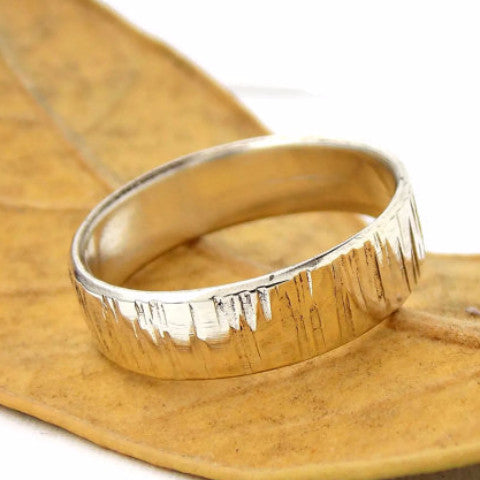 6mm Tree Bark Ring - Sterling Silver - Rito Originals - 1