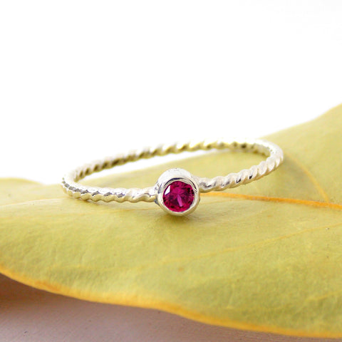 Dainty Rope Birthstone Ring - Sterling Silver - Rito Originals