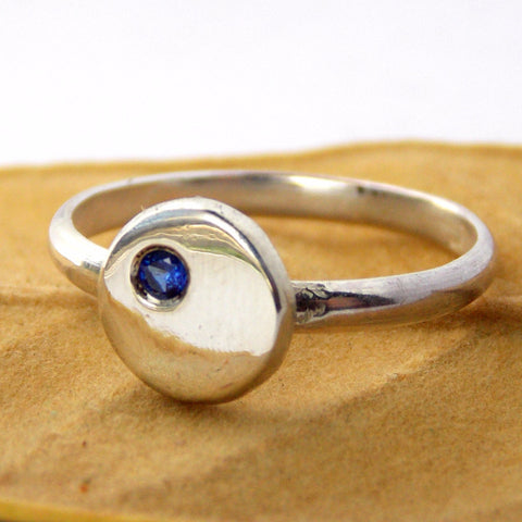 Flat Pebble Birthstone Ring - Sterling Silver - Rito Originals - 1