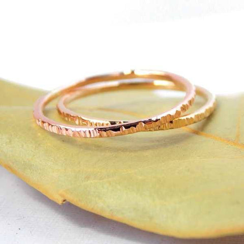 Gold-filled Hatched Stacking Ring - Sterling Silver or Gold-filled - Rito Originals - 1