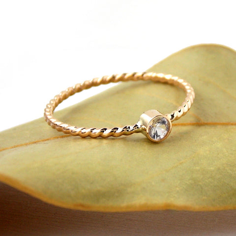Gold-filled Rope Birthstone Ring: 14K Yellow Gold-filled - Rito Originals - 1
