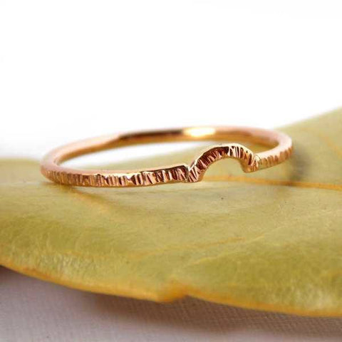 Gold Hatched Curved Stacking Band - Rito Originals - 1