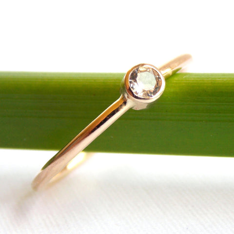 Gold White Sapphire Ring - 14K Solid Gold - Rito Originals - 1