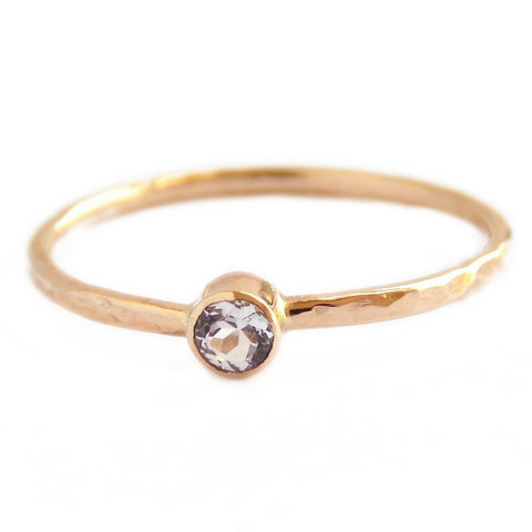 Gold White Sapphire Ring w/ Hammered Band - 14k Gold - Rito Originals