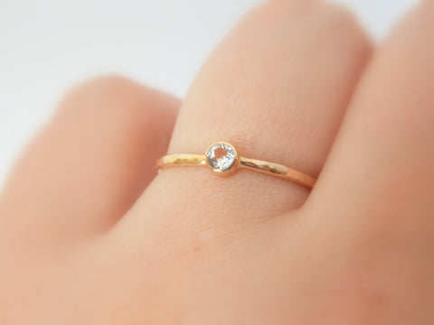 Gold White Sapphire Ring w Hammered Band 14k Gold