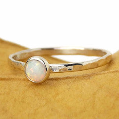 Hammered Band Opal Cab Ring - Sterling Silver - Rito Originals - 1