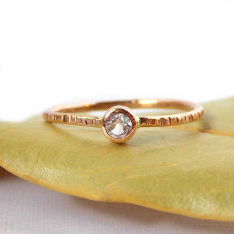 Hatched Rose Gold-filled Birthstone Ring - Rito Originals - 1