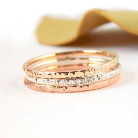 Hatched Stacking Rings Set of 3 - 14K Gold-filled ring and Sterling Silver - Rito Originals - 1