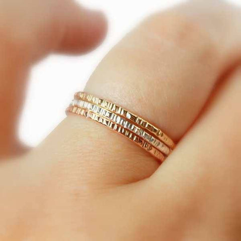 Hatched Stacking Rings Set of 3 - 14K Gold-filled ring and Sterling Silver - Rito Originals - 2