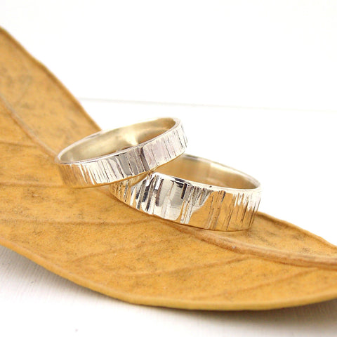 His & Her Set Tree Bark Wedding Band - Sterling Silver - Rito Originals
