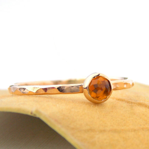 Mini Rose Cut Citrine Ring - Yellow Gold-filled - Rito Originals