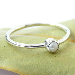 Mini White Freshwater Pearl Ring - Sterling Silver - Rito Originals