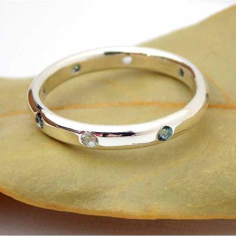 Multistone Band with 8 Stones - Sterling Silver - Rito Originals - 1