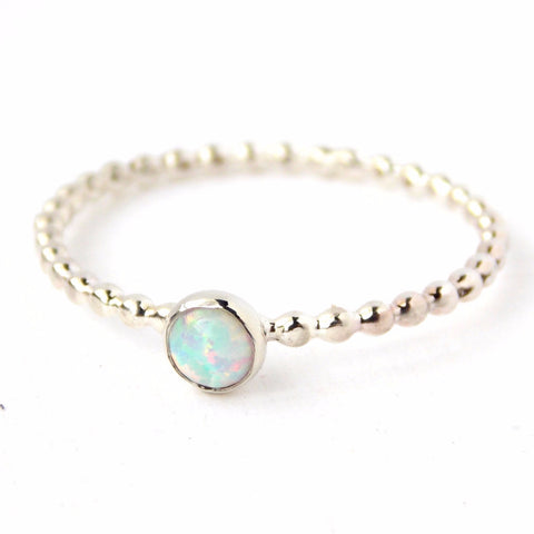 Opal Beaded Band Cab Ring - Sterling Silver - Rito Originals - 1