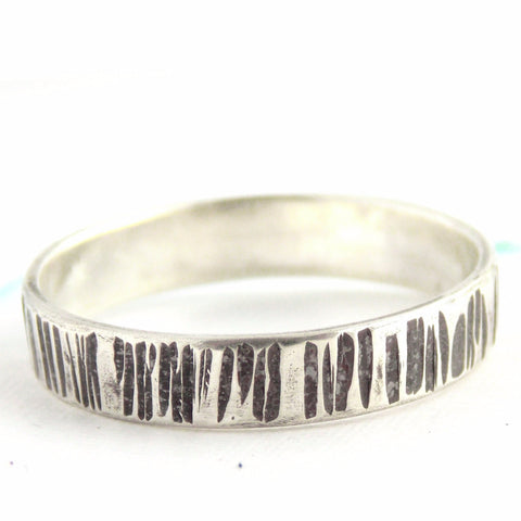 Oxidized Sterling Silver Line Textured Ring - Rito Originals