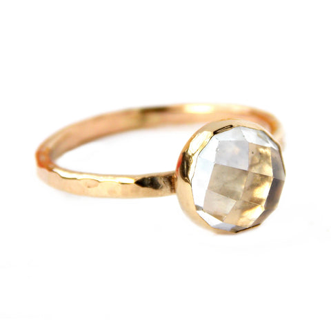 Rose Cut White Topaz Ring - 14K Solid Gold - Rito Originals - 1