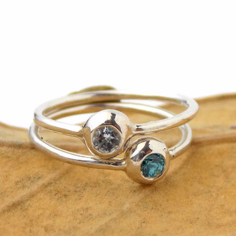 Set of 2 Pebble Birthstone Stacking Rings - Sterling Silver - Rito Originals