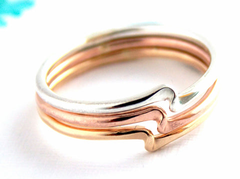 Set of 3 Twister Stacking Rings - 14K Gold-filled or Sterling Silver - Rito Originals - 1