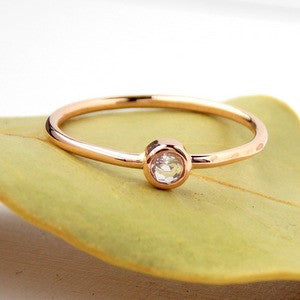 Simple Birthstone Ring - 14K Rose Gold-filled - Rito Originals - 1