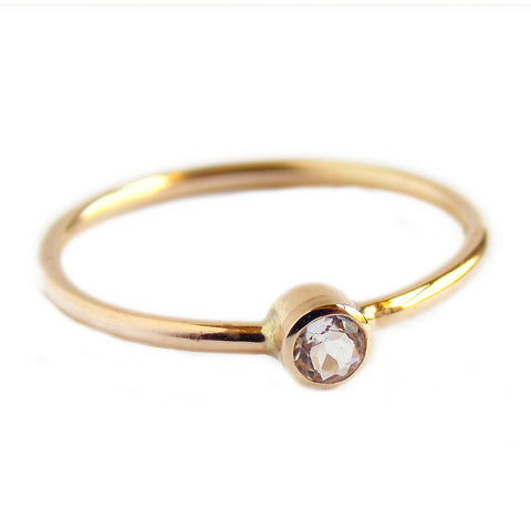 Simple White Sapphire Stacking Ring - 14K Yellow Gold-filled - Rito Originals - 1