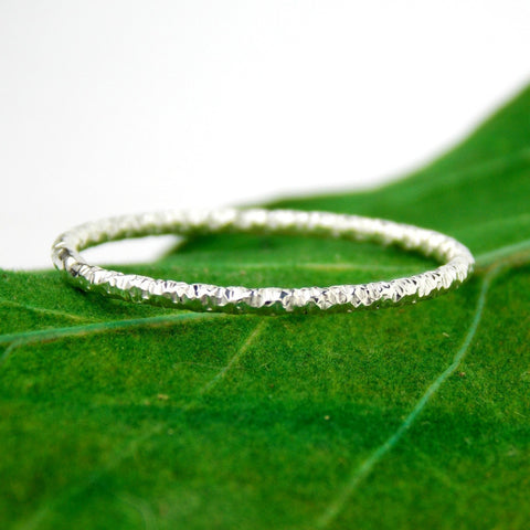Sterling Silver Faceted Wire Stacking Ring - Rito Originals