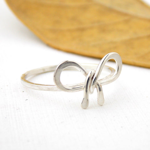 Sterling Silver Forget Me Knot Bow Ring - Rito Originals