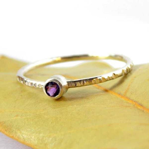 Sterling Silver Hatched Birthstone Ring - Rito Originals - 1
