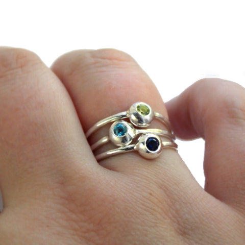 Sterling Silver Pebble Birthstone Rings - Set of 3 - Rito Originals - 1