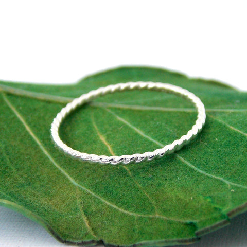 Sterling Silver Twisted Rope Stacking Ring - Rito Originals - 1