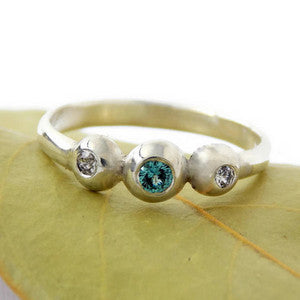 Three Stone Pebble Birthstone Ring - Sterling Silver - Rito Originals - 1