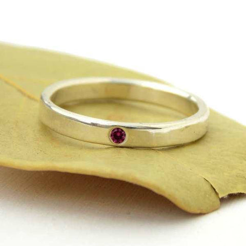 Tiny Birthstone Band - Sterling Silver - Rito Originals - 1