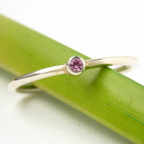 Tiny Birthstone Ring - Sterling Silver - Rito Originals - 1