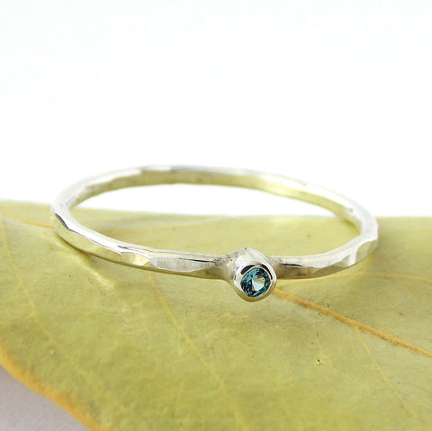 Tiny Hammered Birthstone Ring - Sterling Silver - Rito Originals - 1