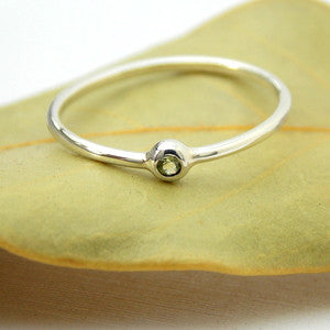 Tiny Pebble Birthstone Ring - Sterling Silver - Rito Originals