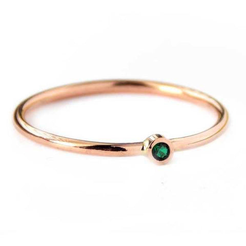Tiny Rose Gold-filled Birthstone Ring - Rito Originals - 1