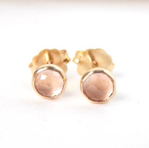 Rose Quartz Stud Earrings - 14K Yellow Gold-filled