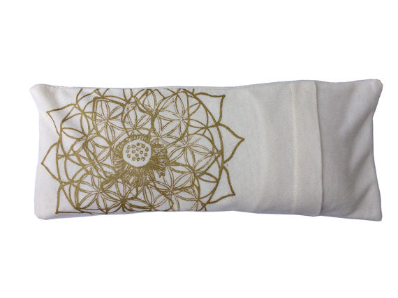 Organic Cotton and Bamboo Lavender Eye Pillow - Lotus Flower