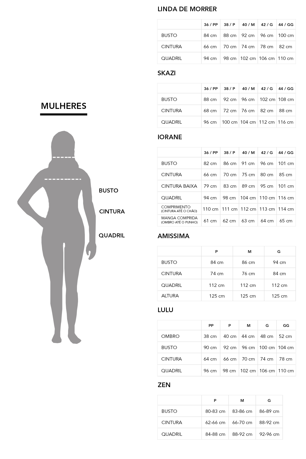 Tabelas de Medidas | Measures tables