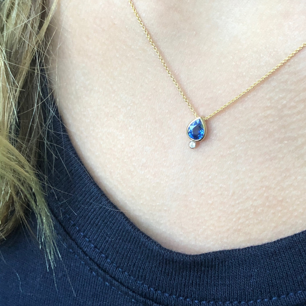 Blue Sapphire Lotus Seed Necklace by Alexis Kletjian