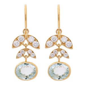 AQUAMARINE DIAMOND LOTUS EARRINGS