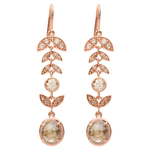 CHAMPAGNE DIAMOND LOTUS EARRINGS