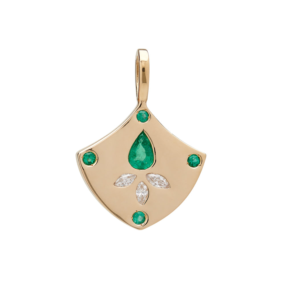 14K GOLD EMERALD LOTUS SHIELD