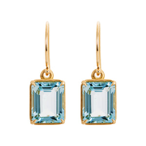 Aquamarine Emerald Cut Earrings by Alexis Kletjian Jewelry