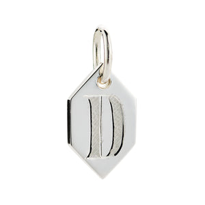 DIAMOND HEXAGON INITIAL CHARM