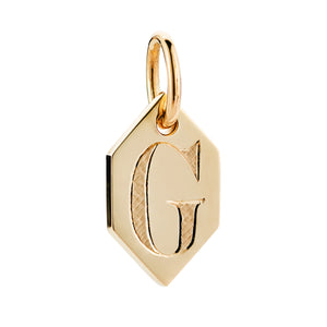 GOLD HEXAGON INITIAL CHARM