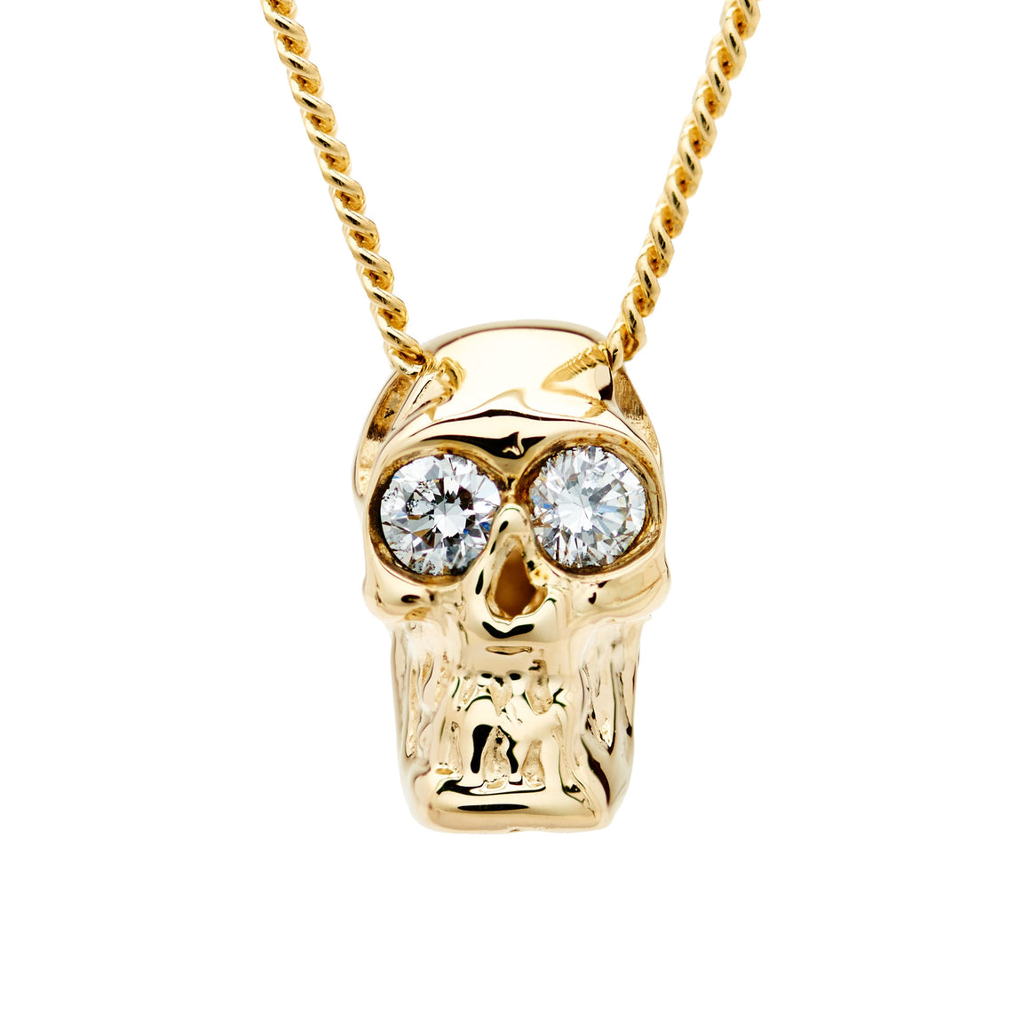 DIAMOND SKULL SLIDE NECKLACE YELLOW GOLD