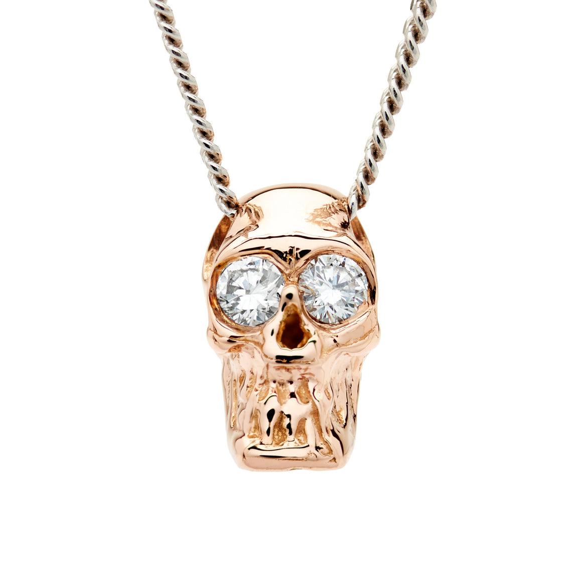 DIAMOND SKULL SLIDE NECKLACE ROSE/WHITE GOLD