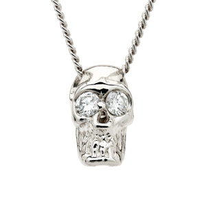 DIAMOND SKULL SLIDE NECKLACE WHITE GOLD